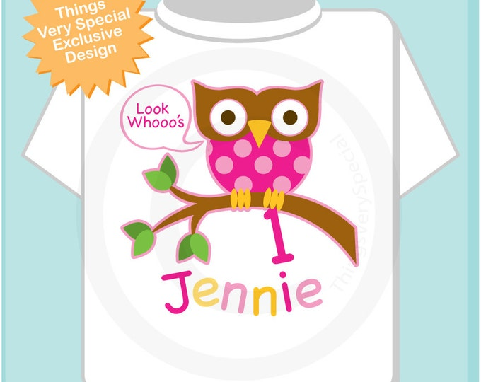 Owl First Birthday Shirt or Onesie, Pink Girls Owl 1st Birthday Shirt Personalized with Child's Name 01282014bz