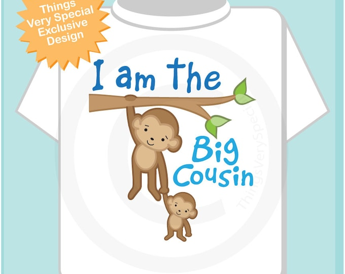 I am The Big Cousin Shirt, Big Cousin Onesie, Personalized Big Cousin Shirt, Monkey Shirt with Unknown Sex Baby (04212014c)