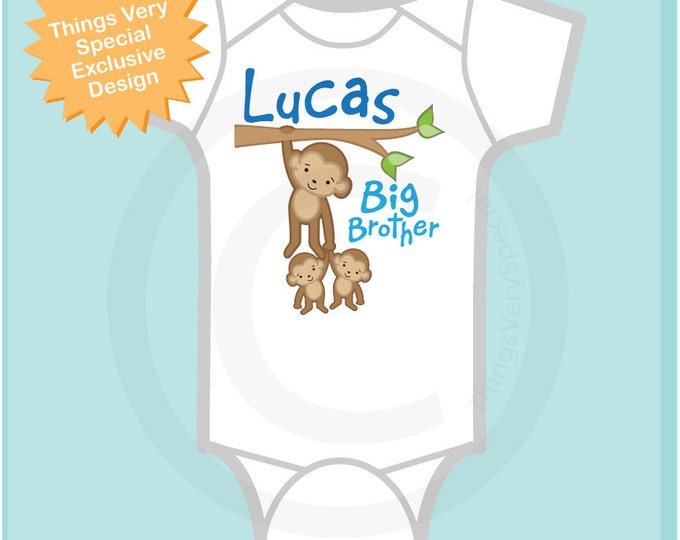 Boy's Big Brother Monkey with twin baby monkeys t-shirt or Onesie, Personalized (03012012a)