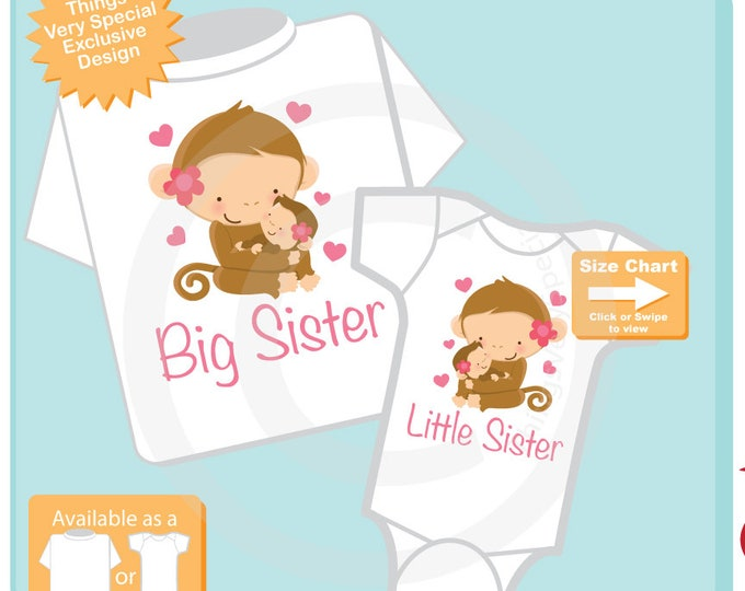 Set of Two Big Sister and Little Sister Shirt and Onesie with cute monkeys 09282015e
