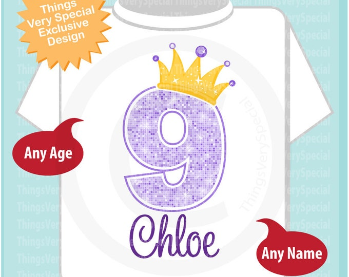 9th Birthday Shirt, Purple Ninth Birthday Outfit top, Personalized Girls Birthday Shirt - 9th birthday girl - birthday girl gift - 04112019b