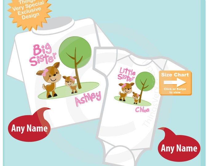 Set of Two, Personalized Big Sister and Little Sister Woodland Deer Doe Tee Shirts or Onesies (09282014b)