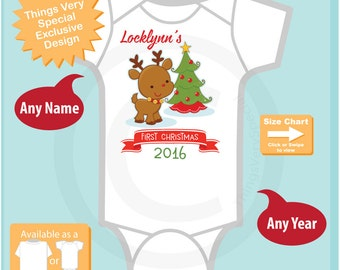 Personalized Baby Gift, First Christmas Outfit, My 1st Christmas Onesie, First Christmas Onesie, Reindeer - Christmas Outfit (11302016d)