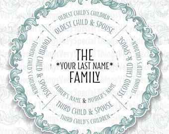 Descendants Family Tree Gift, 4 Siblings, Grandparent Gift, Family Tree Gift print or digital file