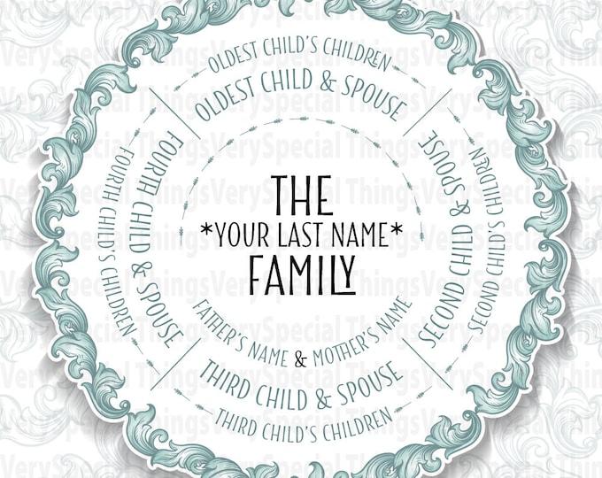 Descendant Family Tree Gift, 4 Siblings, Grandparent Gift, Family Tree Gift print or digital file