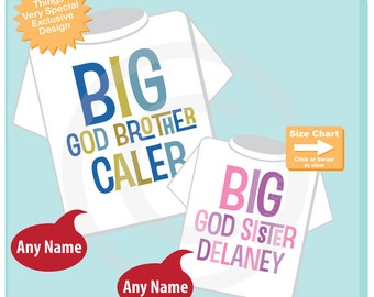 Personalized Big God Brother and Big God Sister Shirt or Onesie set of 2 04072015j