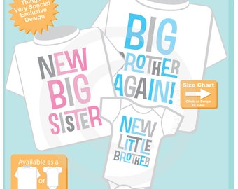 Set of Three,  Big Brother Again Shirt, New Big Sister Shirt and New Little Brother Onesie, Pregnancy Announcement (11112015a)