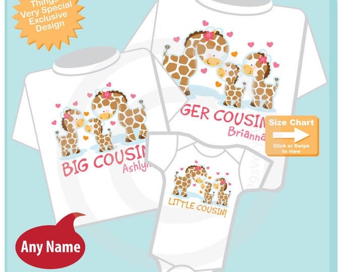 Set of Three, Personalized Bigger Cousin and Big Cousin and Little Cousin Giraffes, Shirt and Onesie Set (02202015i)