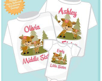 Set of Three Big Sister Shirt, Middle Sister Shirt, and Little Sister Shirt Set Personalized Doe Tee Shirt or Onesie Set of Three