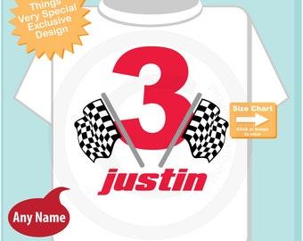 3rd Birthday Checkered Flag Racer Shirt or bodysuit, Personalized Birthday Boy Racing Theme Tee Shirt or Onesie 07162014cz