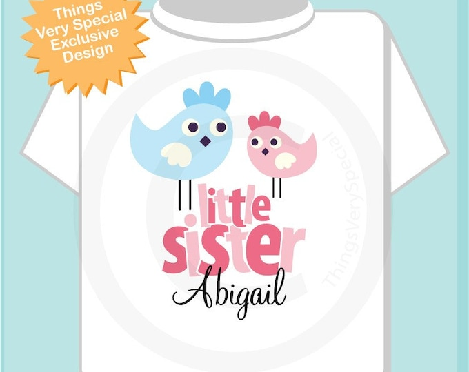 Little Sister Shirt, Little Sister Onesie, Cute Birds Shirt, Little Sister Big Brother Shirt, Personalized Shirt 12142011b