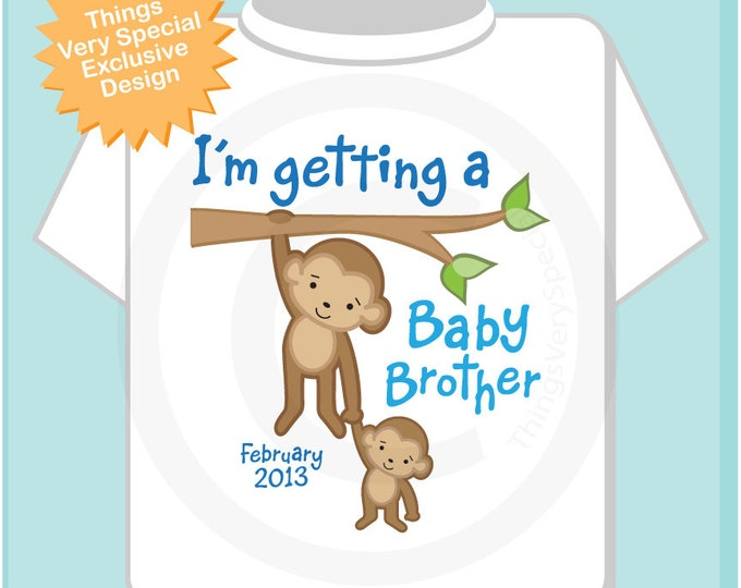 Personalized I'm getting a Baby Brother, Boy's Tee Shirt or Onesie with Due Date of Baby Brother 08302018b