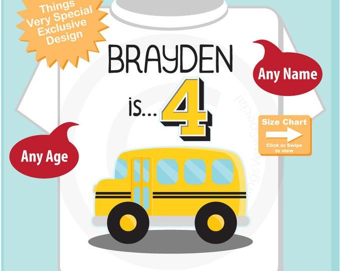 Birthday Boy Shirt - 4th Birthday School Bus Shirt, Personalized Boys Fourth Birthday Shirt with Child's Name and age 10052018az