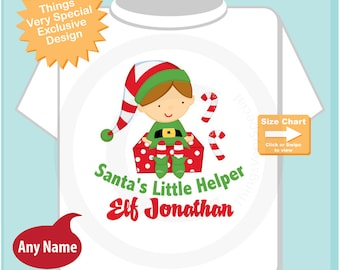 Boy's Personalized Christmas Shirt or Onesie, Santa's Helper Shirt, Santa's Little Helper Elf Tee Shirt or Onesie (11292010a)