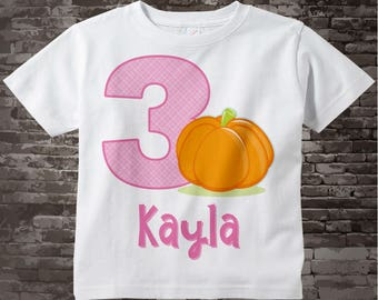 Halloween Pumpkin Birthday Shirt Or Onesie for girls, Any age or name, 3 Year Old Girl, Cute Pumpkin Birthday Shirt or Bodysuit 09212017a