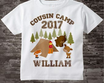 Cousin Camp T-shirt   Personalized with child's name   Cute Camping and Woodland image with bear deer fox and campsite 08042012b