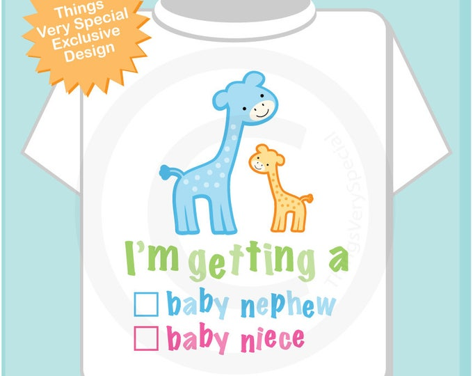 """Gender Reveal Shirt or Onesie Giraffes with the words """"I'm Getting A, Baby Nephew or Baby Niece"""" check the box. Announcement 05112017f"""
