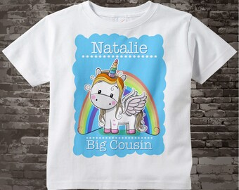 Unicorn Big Cousin shirt or Onesie Bodysuit, Cute cotton tee shirt or Onesie Bodysuit with short or long sleeves personalized 11302017a