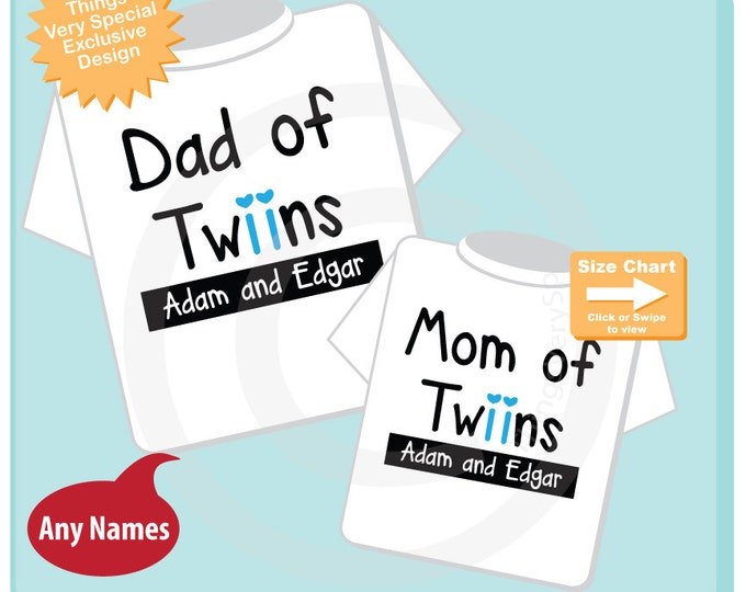 Matching Dad of twins and Mom of twins Personalized tee shirts with the twin boy children's names (12272016a)