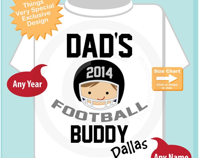 Boy's Football Shirt, Personalized Football Shirt, Dad's Football Buddy Shirt or Onesie with childs name (12102013a)