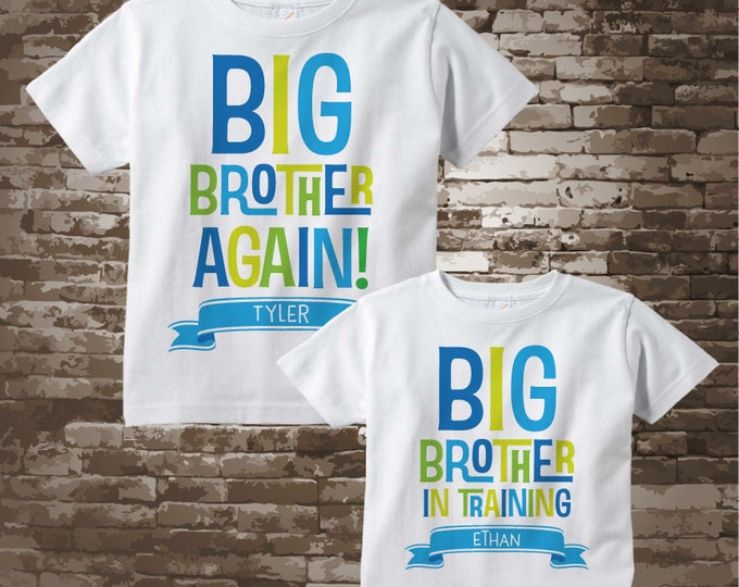 Set of Two, Boys Sibling Big Brother Again and Big Brother In Training Tee Shirts or Onesies, Pregnancy Announcement 05212015d2