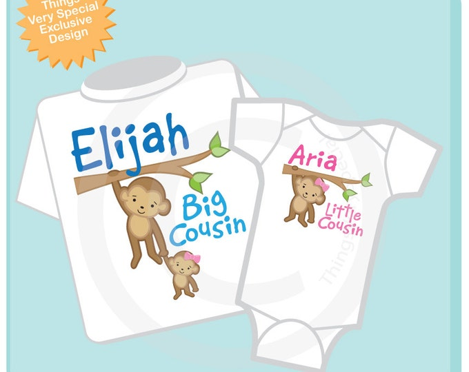 Big Cousin Little Cousin Shirt set of 2, Sibling Shirt, Personalized Tshirt with Cute Monkeys (02272013a)