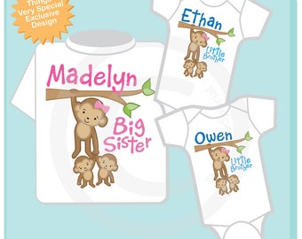 Sibling Monkey Shirt Set, Set of Three, Big Sister Shirt, Big Sister, and Twin Babies,  Personalized Shirt or Onesie (03152013a)