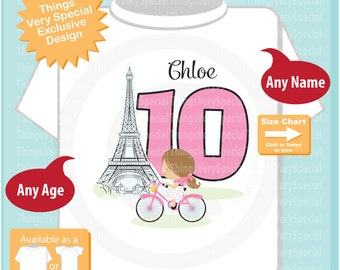 Paris Birthday Shirt for tenth Birthday, Pink 10 Birthday Shirt, Personalized Girls Birthday Shirt Pink Age Name Tee for kids 03202019d