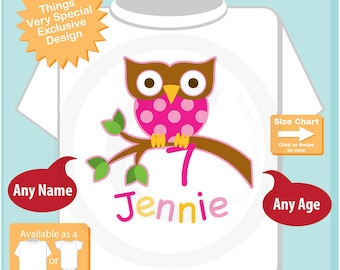 7 Year Old Owl Shirt, Pink Girl's Owl Age Shirt Personalized with Child's Name and age tshirt (08032015l)