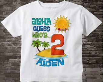 Birthday Boy Shirt - Second Birthday Tee Shirt, 2nd Birthday Shirt, Personalized Boy's Hawaiian Luau, Hawaii theme birthday 08032015k