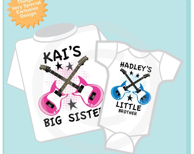 Set of Two, Personalized Big Sister and Little Brother Guitar Rocker Shirt or Onesie, Infant, Toddler or Youth sizes t-shirt 04092014b
