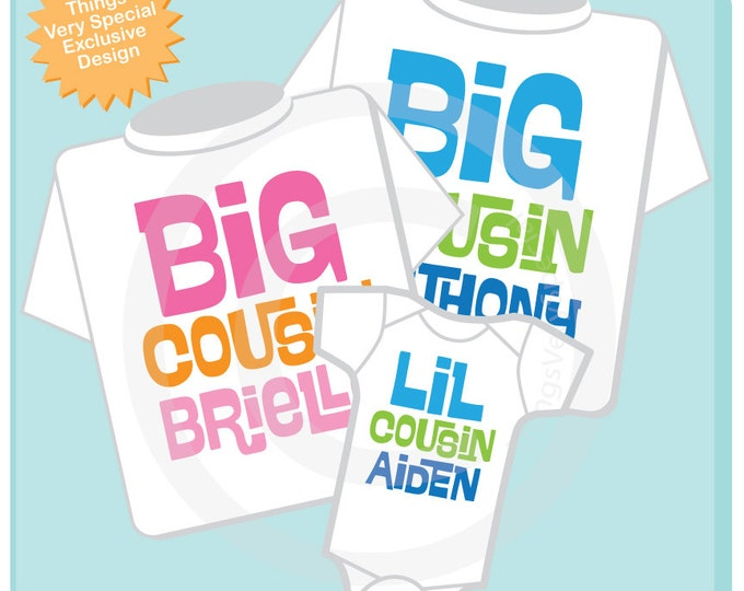 Set of 3 Big Cousin and Little Cousin Shirt Personalized Infant, Toddler or Youth Tee Shirt or Onesie Pregnancy Announcement