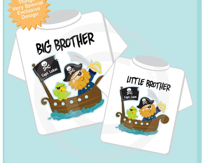 Big Brother Little Brother Shirt set of 2, Sibling Shirt, Personalized Tshirt with Pirate Big Brother and Pirate Little Brother (04172013a)