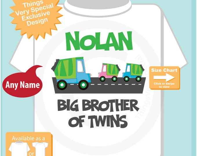 Big Brother of Twins Garbage Truck TShirt or Onesie - Personalized Garbage Truck Big Brother shirt, Big Brother of twin boy girl (03152016e)