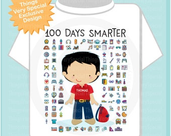 100 days of school personalized shirt, 100th day of school shirt, 100th day shirt, 100 days smarter personalized cotton t-shirt 01132021a