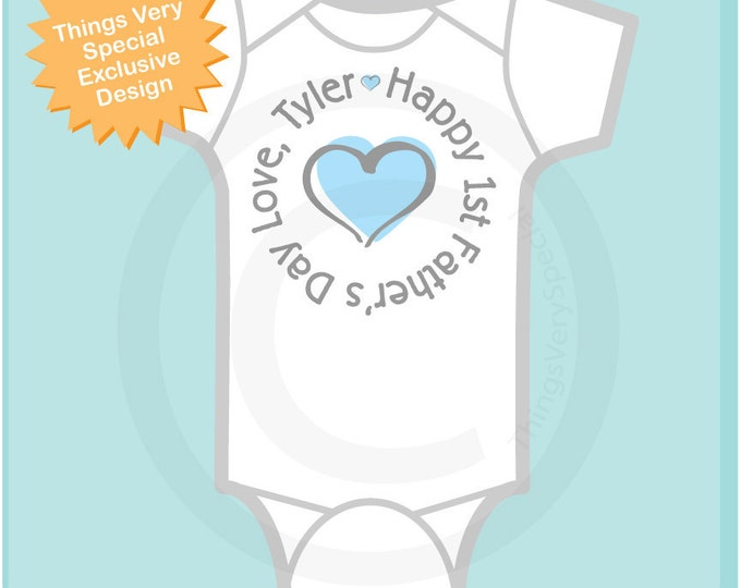 Happy First Father's Day, 1st Fathers Day with Blue Heart Tee Shirt or Onesie New Dad Gift (05102012d)