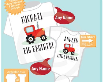 Big Brother Little Brother Shirt or Onesie set of 2, Sibling Outfit top set, Matching Big Brother Little Brother Tractor set 02032016g
