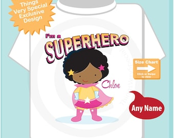 Girl's Personalized Superhero Child's Tee Shirt or Onesie with black curly hair and brown skin (04092013h)