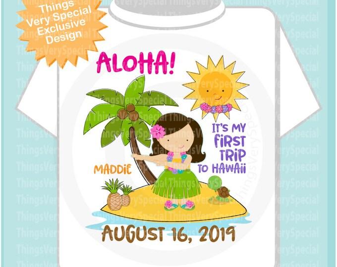 First Trip to Hawaii Shirt or Onesie Bodysuit, Girl's Hawaiian Vacation shirt with trip date 08162019b