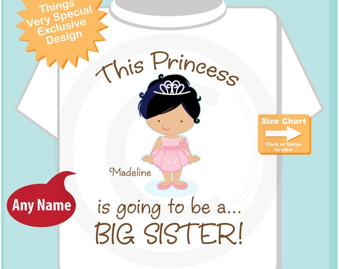 Girl's Princess is going to be a Big Sister with Black Hair Tee Shirt or Onesie, personalized Pregnancy Announcement (07282014a)