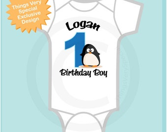 Boy's First Birthday Penguin Shirt Personalized Birthday Boy Penguin Theme Tee Shirt or Onesie 12072012a