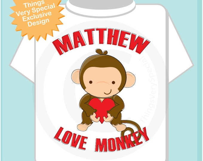 Valentine Shirt, Monkey Love Shirt, Personalized Love Monkey Tee Shirt or Onesie with Any Name