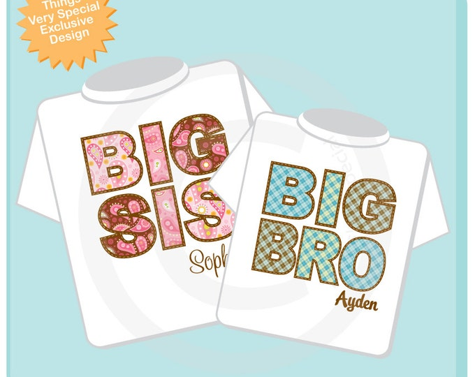 Set of Two, Big Sister Sis and Big Brother Bro Shirt Personalized Infant, Paisley and Plaid Toddler or Youth Tee Shirt or Onesie (10262011a)