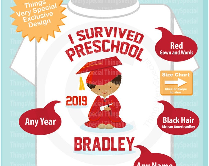 Personalized I Survived Preschool Shirt Preschool Graduate Shirt Child's Back To School Shirt 03122019e