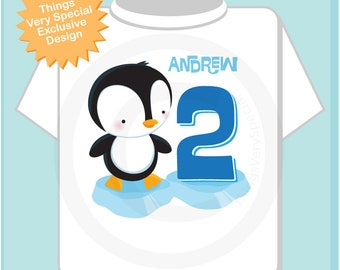 Boy's 2nd Birthday Penguin Shirt, Personalized Second Birthday Boy Penguin Theme Tee Shirt or Onesie 05092018b