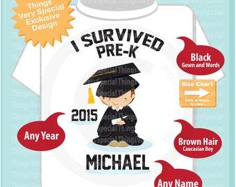 Personalized I Survived Pre-K Shirt Pre-K Graduate Shirt Child's Pre-K Graduation Last day of School Shirt 12312015w