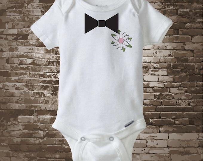 Ring Bearer Onesie Bodysuit with Printed Bow tie and Flower Boutineer 03222010z