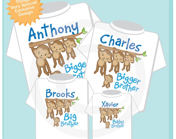 Sibling Monkey Shirt Set of Four, Biggest Brother Shirt, Bigger Brother, Big Brother, and Baby Brother, Personalized 11042011a