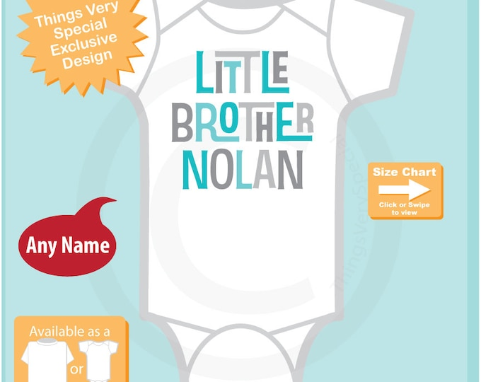 Personalized Little Brother Onesie, Little Brother Bodysuit with Aqua and Grey Text 02012017a