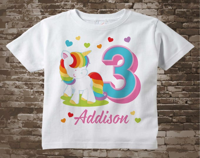 Rainbow Unicorn 3rd Birthday shirt, Any age can be done, Cotton Tee shirt personalized with name and age. 12262017a